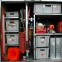 Verkehrsleitkegel, Anschlagmittel, Motorsäge, Wathosen, 2 Stk. Saugstellenboxen