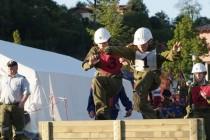Landesbewerb 2008 in Oberndorf: Beim Bewerb müssen 9 Kids an einem Strang ziehen