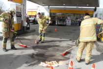 Ölspur Shell-Tankstelle